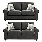 more details on HOME Tessa Regular and Regular Fabric Sofa - Charcoal.