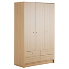 more details on HOME New Malibu 3 Door 4 Drawer Wardrobe - Oak Effect.