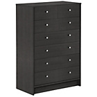 more details on HOME New Malibu 5 Wide 2 Narrow Drw Chest - Black Oak Effect