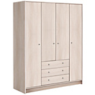 more details on HOME New Malibu 4 Door 3 Drawer Wardrobe - Beech Effect.