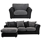 more details on HOME New Bailey Reg Left Corner Sofa/Snuggle Chair -Charcoal