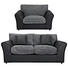 more details on HOME New Bailey Sofa Bed and Snuggler Chair - Charcoal.