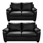 more details on HOME Antonio Large and Regular Leather Sofa - Black.