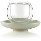 more details on La Cafetiere Bola Glass Cup and Cream Saucer - Set of 4.