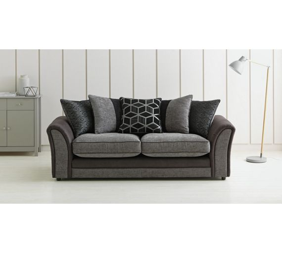 buy collection rhiannon 3 seat fabric leather eff sofa black at your online shop. Black Bedroom Furniture Sets. Home Design Ideas