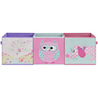 more details on Owl Canvas Storage Boxes - 3 Pack.