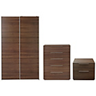 more details on Hygena Bergen 3 Piece Medium Wardrobe Package-Walnut Effect