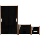 more details on HOME New Sywell 3 Piece Sliding Wardrobe Package-Walnut/Blk.