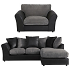 more details on HOME New Bailey Large Right Cnr Sofa/Snuggle Chair-Charcoal