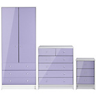 more details on New Malibu 3 Piece 2 Door Wardrobe Set - Lilac.
