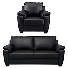 more details on HOME Antonio Large Leather Sofa and Chair - Black.