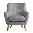 more details on Hygena Otis Fabric Chair and Footstool - Light Grey.