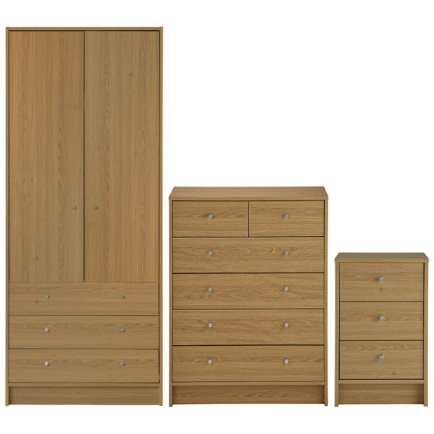 Buy Home Kids New Malibu 3 Piece 2 Door Wadrobe Set Oak At Your Online Shop For