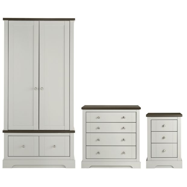 Buy heart of house westbury 3 piece package grey at for Bedroom furniture argos