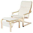 more details on HOME Bentwood Fabric Chair and Footstool - Natural.