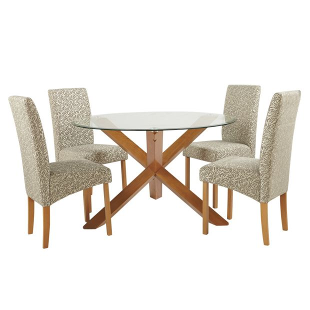 buy heart of house oakington round glass table 4 chairs. Black Bedroom Furniture Sets. Home Design Ideas