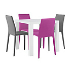 more details on Hygena Lyssa Small Gloss Table and 4 Chairs - Pink and Grey.