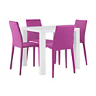 more details on Hygena Lyssa Small Table and 4 Otto Chairs-White Gloss/Pink.