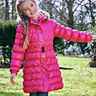 more details on Cherokee Girls Pink threequarter length padded Coat with Belt.