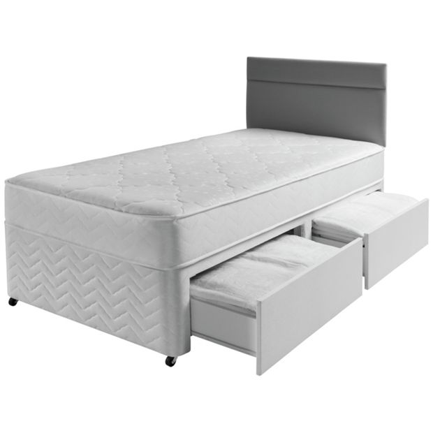 Buy airsprung bower memory single 2 drawer divan at argos for Single divan with drawers and headboard