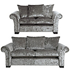 more details on HOME Glitz Large and Regular Fabric Sofa - Silver.
