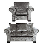 more details on HOME Glitz Regular Fabric Sofa and Chair - Silver.