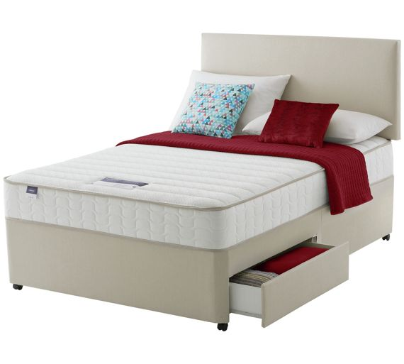 Buy silentnight hatfield memory small double 2 drawer for 2 drawer double divan bed