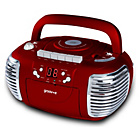 more details on Groov-e Retro Boombox CD/Cassette Player with Radio - Red.
