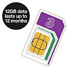 more details on Three 12GB Pay As You Go Trio Data Sim.