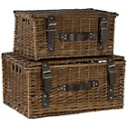 more details on Premier Housewares Set of 2 Willow Leather Baskets -Natural.