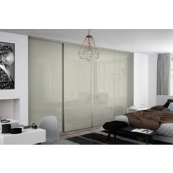 Spacepro W2997mm 4 Door Framed Glass Sliding Wardrobe Doors Kit (Soft White Glass)