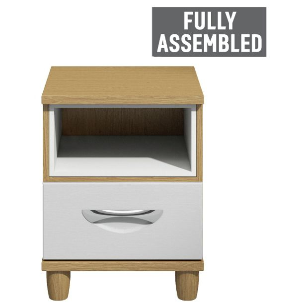 Buy myra 1 drawer bedside chest oak effect and white at for Bedroom furniture argos