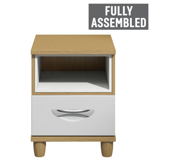 Buy Myra 1 Drawer Bedside Chest Oak Effect And White At Your Online Shop For