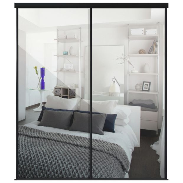 Buy Sliding Wardrobe Door Kit W1498mm Black Frame Mirror At Your Online Shop For