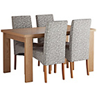 more details on HOME Paxton Dining Table &4 Skirted Chairs-Oak Veneer/Floral