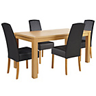 more details on HOME Harwood Table and 4 Black Chairs.