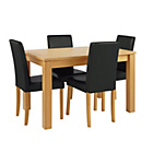 more details on Collection Beckett Oak Veneer Ext Table & 4 Chairs - Black.