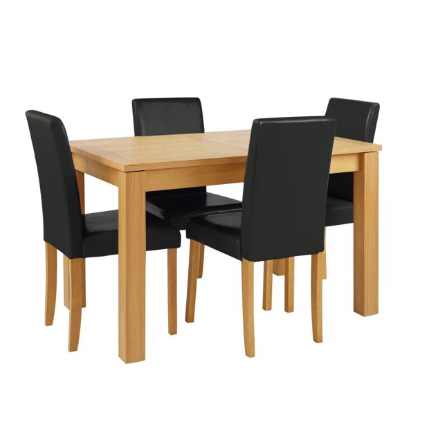 Buy collection beckett table 4 midback chairs oak veneer black at your online - Dining tables buy online ...