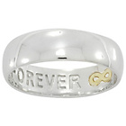 more details on Sterling Silver & 9ct Gold Gent's 'Forever' Ring - Size Z.