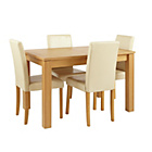 more details on Collection Beckett Table and 4 Cream Midback Chairs.