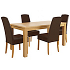 more details on HOME Harewood Table and 4 Chocolate Chairs.