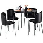 more details on Hygena Amparo Dining Table and 4 Chairs - Black.