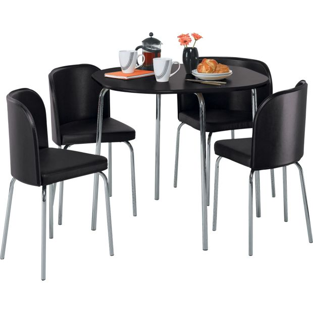 buy hygena amparo dining table and 4 chairs black at. Black Bedroom Furniture Sets. Home Design Ideas