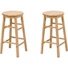 more details on Simple Value Pair of Natural Wooden Kitchen Stools.