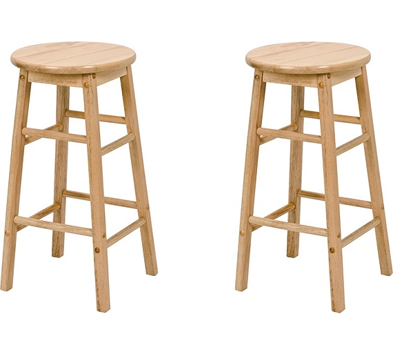 Buy Simple Value Pair Of Natural Wooden Kitchen Stools At
