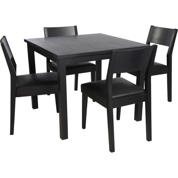 Buy hygena square dining table and 4 chairs solid wood for Small black dining table and chairs