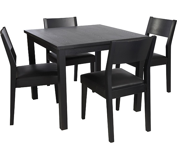 Buy hygena square solid wood dining table and 4 chairs for Black kitchen table and chairs