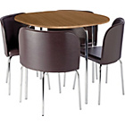 more details on Hygena Amparo Dining Table & 4 Chairs -Oak Effect/Chocolate.