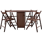more details on Butterfly Oval Dining Table and 4 Chocolate Chairs.