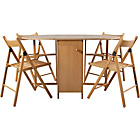 more details on Butterfly Oval Dining Table and 4 Oak Stain Chairs.